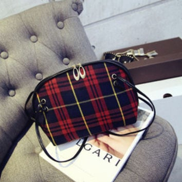 Stylish Plaid One Shoulder Fashion Bags [6582430855]