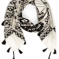 Desert Divine Black and Cream Print Scarf