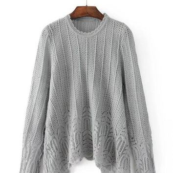 Pure Color Lace Hem Sweater