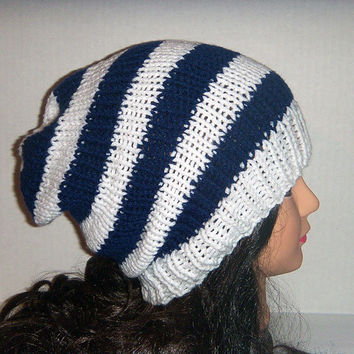 Blue and White Striped Knitted Slouchy Beanie Hat for Man or Woman - Slouch Hat - Baggy Hat - team hat