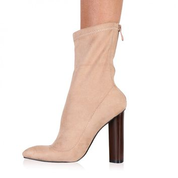 Kori Ankle Boots in Nude Faux Suede