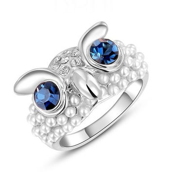 Fashion Women Cute Owl Austrian Crystal Stainless Steel Punk Retro Finger Ring  Engagement Wedding Band Bride Rings Zircon Diamond Rhinestone Jewelry Gifts