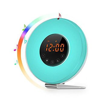 Sunrise Alarm Clock - Best Wake Up Light with 7 colors Changing, FM Radio, Touch Control, Snooze Function and Sunrise Simulator Alarm Clock for Bedside, Adults and Kids