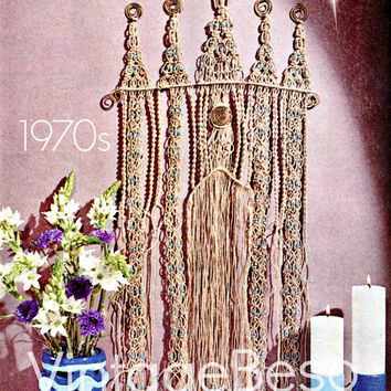 5 Patterns 1970s Cathedral Wall Hanging MACRAME PATTERN Hanging or Room Divider Curtain-Candle Holders by PDF for Immediate Digital Delivery