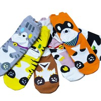 Fashion Cotton Funny Animal Printed Women's Socks Casual Tiger Cow Character Animal Medium Socks