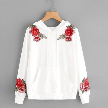 LMFMS9 Fashion White Blouse Womens Long Sleeve Rose Embroidery Applique Hoodie Hooded Tops High Quality Cotton Blusas