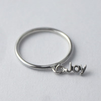 Poetry Silver charm 'Joy' Ring... Sterling silver Stacking ring with loose word charm