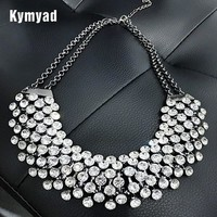 Kymyad Collier  Trendy Crystal Statement Necklaces Pendants Women Jewelry Multilayer Link Chain Necklace