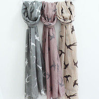 Swallow Print Cotton Scarf