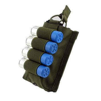 Tactical Pouch Molle Hunting 12 Gauge Ammo Bag M4 M16 5.56 .223 Magazine Pouch with 4 Rounds 12G Shotshell Elastic Holder