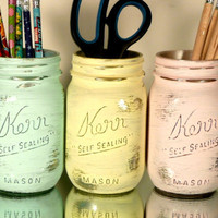 Back to School - Home, Dorm or Office Decor, Wedding - Mason Jars - Pastel painted mason jars