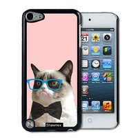 IPod 5 Touch Case Thinshell Case Protective IPod 5G Touch Case Shawnex Hipster Grumpy Cat Geek Glass Bowtie