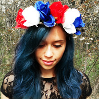 Flower Crown Roses Red White and Blue Floral Headband Coachella Hair Accessories American Flag Colored Flowers Boho Head Piece Summer