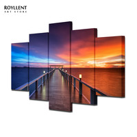 Unframed 5 Pcs Morden canvas painting Seascape Sunset Picture for Home Decoration Living Room Painting-Large Canvas combined