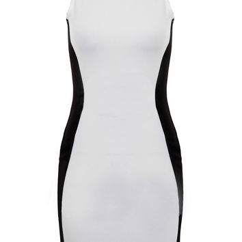 White And Black Sleeveless Bodycon Midi Dress