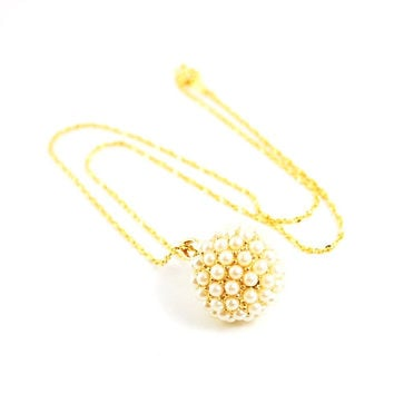Vintage Necklace, Disco Ball Necklace, Pearl Ball Necklace, Gold Ball Necklace, Pearl Pendant Necklace, Ball Pendant,1970s Jewelry