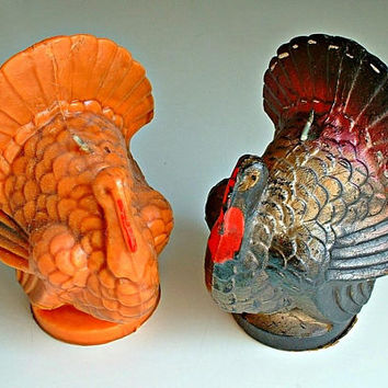 Vintage Gurley Turkeys Thanksgiving Candles Large Size Lot of 2 Fall Decor 1960's with Original Labels