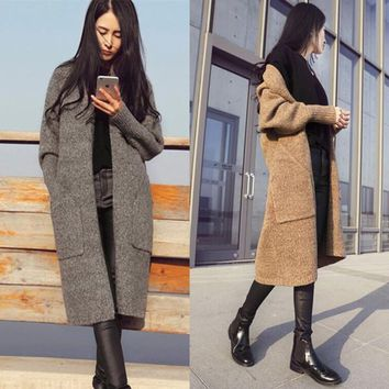 Womens Casual Long Coat Knit Sweater