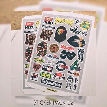 Brand Sticker Pack, Supreme, Bape, Nike, Kanye West, Adidas, Vans Yeezy Boost Brandbook for macbook sticker, usa sticker, obey, skateboard