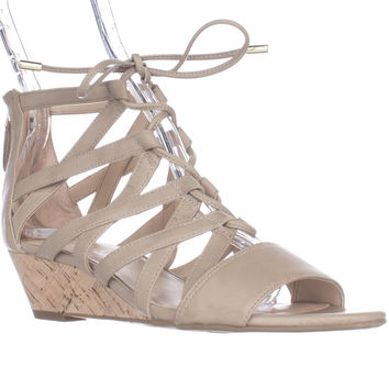 Franco Sarto Brixie Lace-up Wedge Sandals - Taupe