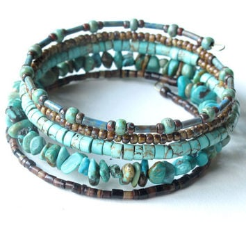 Beaded bracelet stack - turquoise & brown stacking bangles