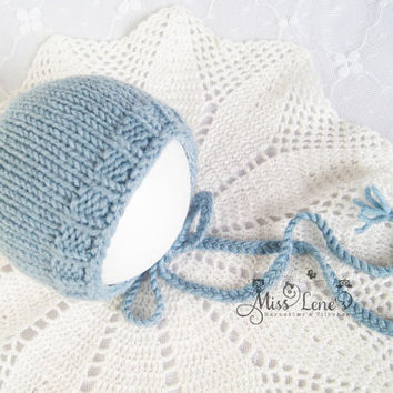 Newborn Bonnet, Newborn Photo Prop, Baby Blue Bonnet, Classic Newborn Bonnet,  Classic & Timeless Newborn Baby Photo Prop