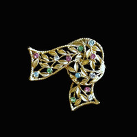 Ribbon Knot Brooch Pin With Multi Colored Rhinestones And Leaf Design In Gold Tone, Gift For Her