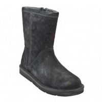 UGG Australia Roslynn Black Leather Sheepskin Lined Womens Boots, High, Ankle, Shoes