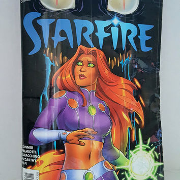Cool Upcycled Starfire Comic Book Purse - Unique Black Clutch Handbag - Geek Gifts for Her