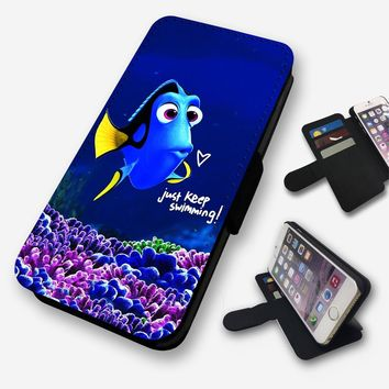 FINDING NEMO DORY JUST KEEP SWIMMING FLIP PHONE CASE COVER WALLET FAUX LEATHER