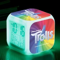 Animation Film Trolls Digital LED Alarm Clock 7 Color Change Trolls Toys Square Digital Wake up Watch Gift for Kids Birthday