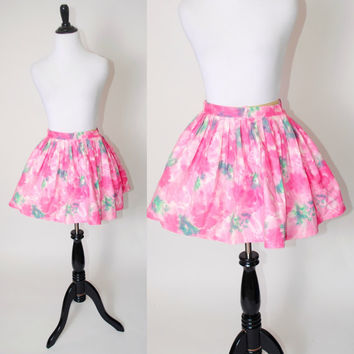 Vintage 1950s High Waisted Pink WATERCOLOR metal zipper cotton FULL Circle Micro mini skirt