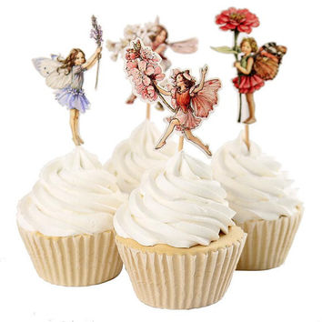 24 Pieces Flower Fairy Cupcake Toppers Picks for Birthday Decorations DIY Party Supplies
