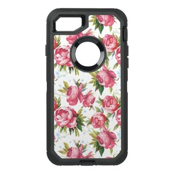 Stylish Vintage Pink Floral Pattern OtterBox Defender iPhone 7 Case