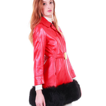 60s Vintage Red Leather Princess Coat Black Faux Shearling Fur Jacket Mod Retro Glamor Belted Fit & Flare Winter Clothing Women Size Small