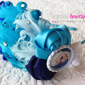 Frozen Elsa the Snow Queen Flapper Girl Feather Headband in Blue Ombre with Swarovski Crystals