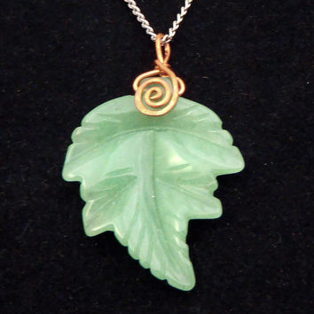 Falling Green Leaf Pendant Necklace Charm Copper Green Stone Leaves Carved Adventurine Fall Necklace Autumn Trends FREE SHIPPING
