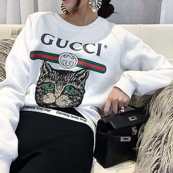 GUCCI Fashion Women Personality Cat Letter Print Long Sleeve Round Collar Pullover Top Sweater I