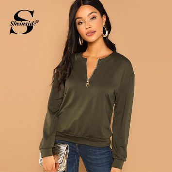 Sheinside Army Green Zip Half Placket Solid Sweatshirt Women Casual O-Neck Pullover Clothes Long Sleeve Sweatshirts