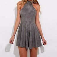 Women Halter Solid  Backless Tunic Hollow  Mini Women Vintage Dress