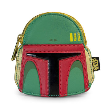Star Wars Loungefly Boba Fett Green/Red Faux Leather Face Coin Bag