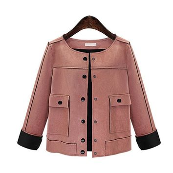 Trendy Women Suede Short Jacket Fashion 2018 Spring Autumn Slim vintage Chamois Leather Suede jacket For Ladies AT_94_13