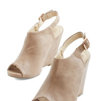 ModCloth Minimal From Far and Stride Wedge in Taupe