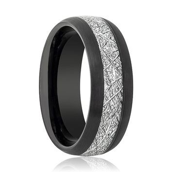 Aydins Tungsten Ring Black Brushed Domed w/ Meteorite Inlay Center Wedding Band 8mm Tungsten Carbide Wedding Ring
