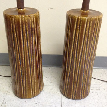 Pair Mid Century Danish Modern Pleated Look Brown Glaze Table Lamps
