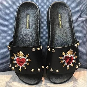 DOLCE&GABBANA D&G Sacred Heart Patched Slippers-1