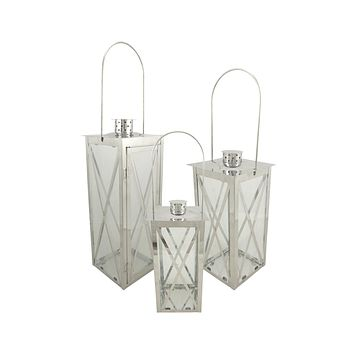 Set of 3 Silver Stainless Steel Finish Cottage Style Pillar Candle Holder Lanterns 18""