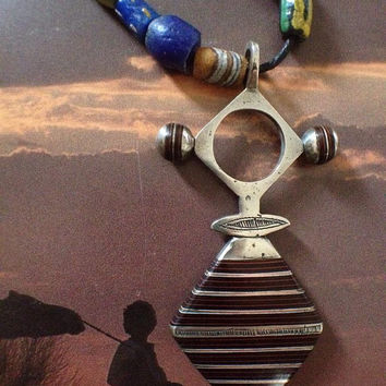 Silver Large Tuareg Compass Cross Silver with Ebonywood Inlay & Glasspowder Beads, Both sides decorated