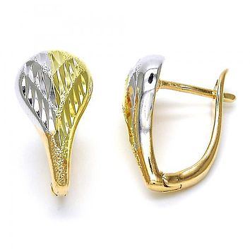 Gold Layered 02.26.0217.15 Huggie Hoop, Teardrop Design, Diamond Cutting Finish, Tri Tone