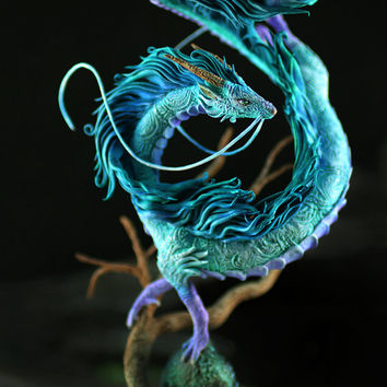 Haku Dragon Miyazaki Spirited Away Ghibli figurine fanart fantasy art sculpture handmade buy